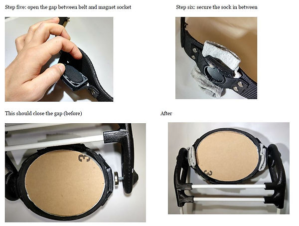 Stick the folded sock between the magnet and the belt to reduce gap between magnet on frame to magnet holder on belt.