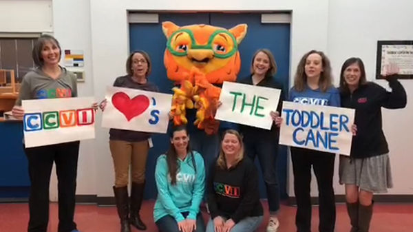 Seven CCVI professionals (O&M, PTs, OTs, Admins) in a group photo are holding signs that together read CCVI heart's the toddler cane