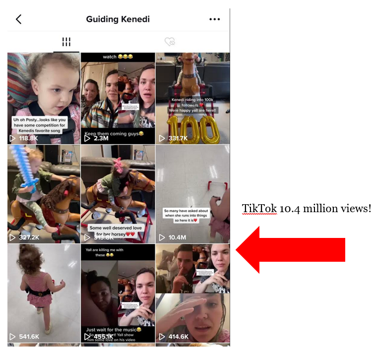 Guiding Kenedi shows 9 video panels, a red arrow points at the panel with 10.4M views with the words TikTok 10.4 million views!