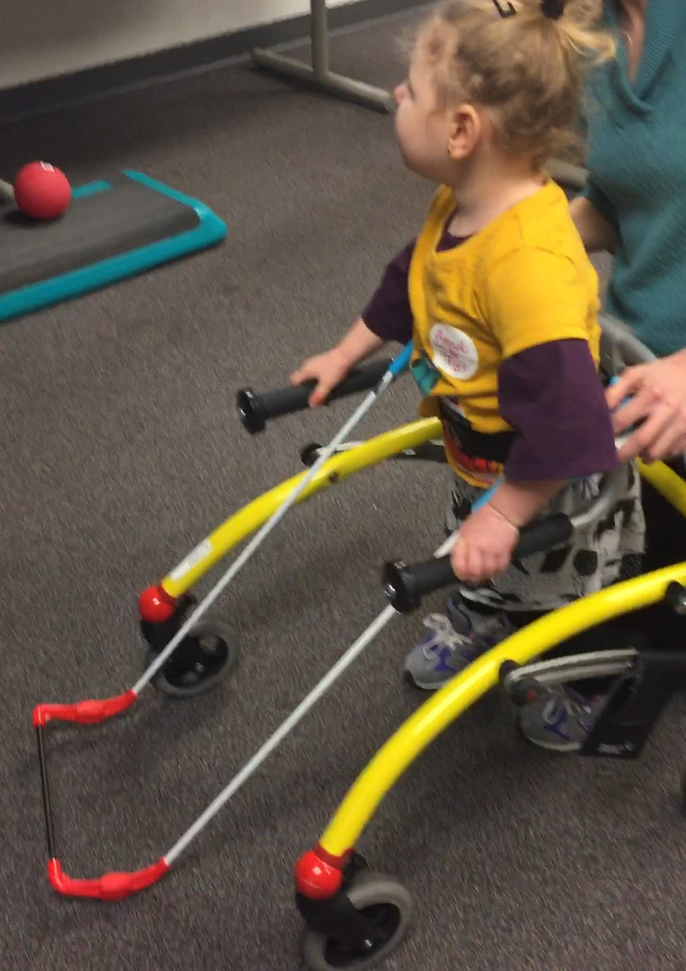 three year old girl walks holding onto a reverse walker and wearing a belt cane.
