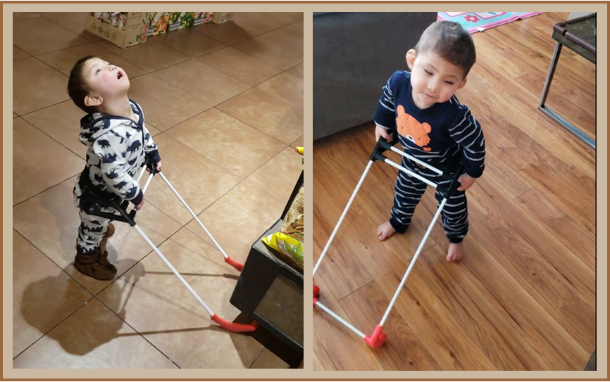 two pictures of two-year-odl Maddox one his head is back eccentric veiwing the other he is adorable in both he is wearing his belt cane
