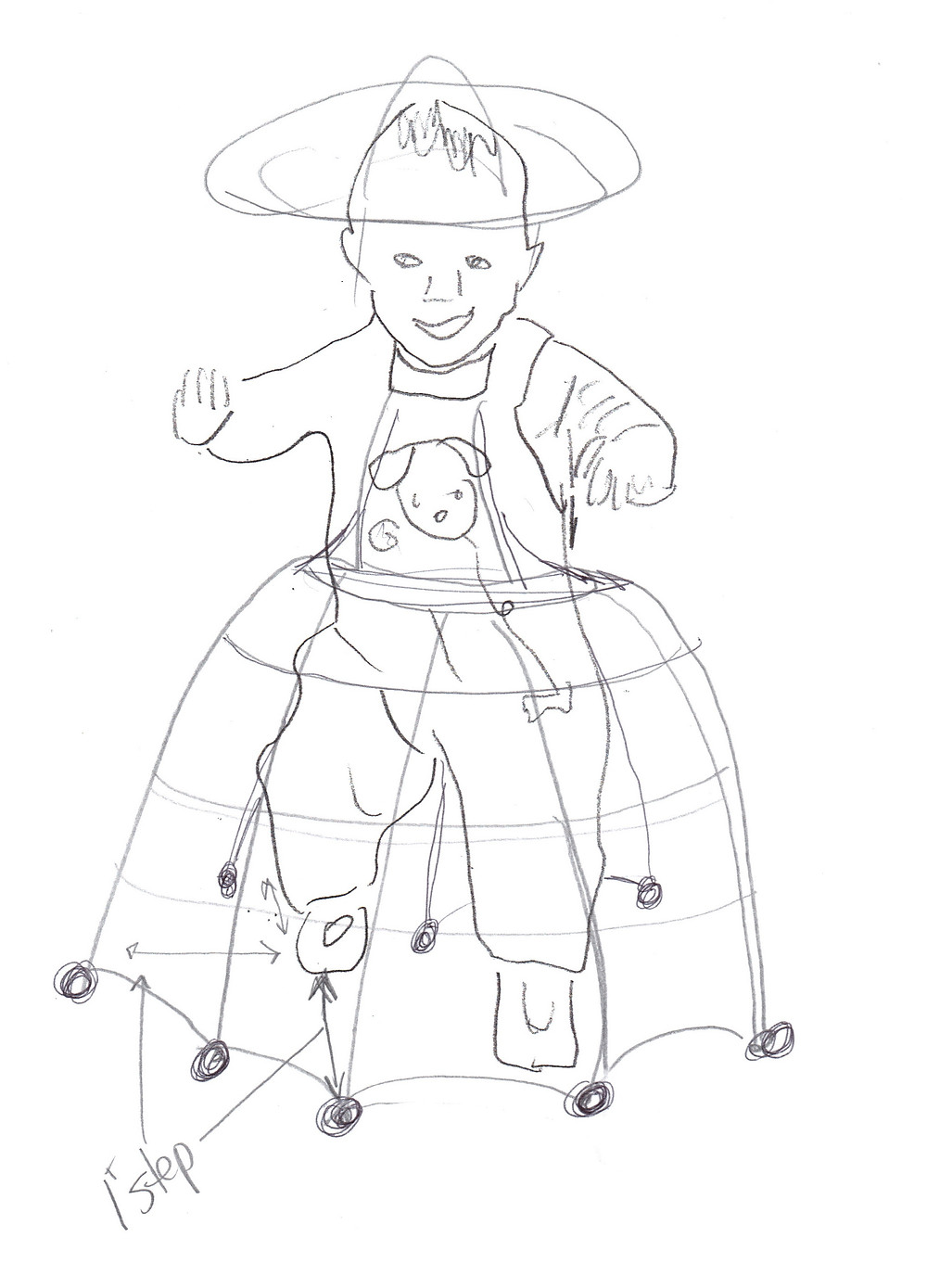 "pencil drawing of a toddler with a hoop skirt type device with wheels at regular points around. The diagram says ""1 step"" with a line from rear foot to front of device."