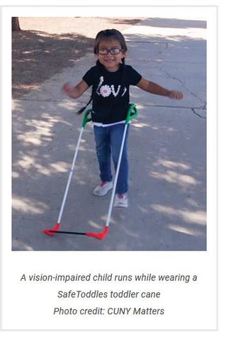 Blind Toddlers Walk Freely With a Wearable Cane