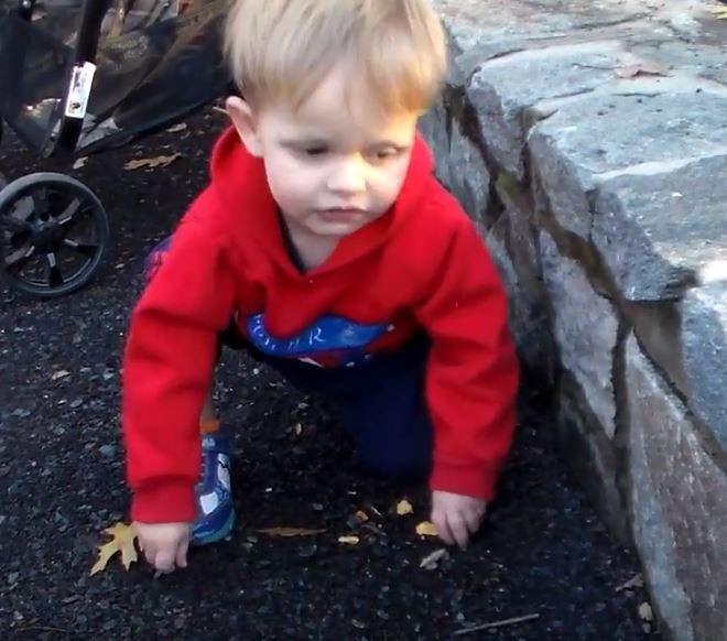 Matias is seen crouching down holding leaves and pebbles.