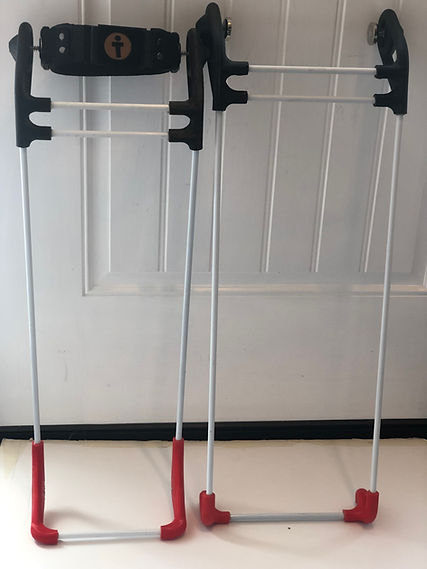 Set of canes one daily with belt, one tight space cane both facing front
