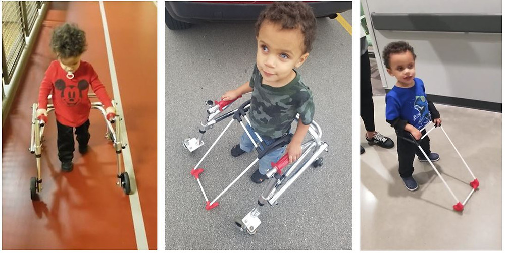 The three photos show 1  year old walking on a track with his walker, middle he is looking up smiling wearing his belt cane and holding his walker, the last he is walking only wearing his belt cane.