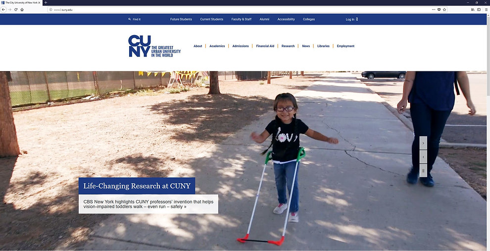 CUNY website banner shows three-year-old girl who is visually impaired running wearing her belt cane. text reads Life-changing research at CUNY CBS New York highlights professors' invention that helps vision-impaired toddlers walk --even run--safely