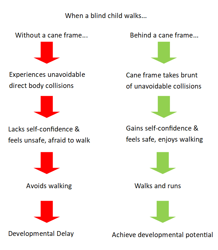 title: when a blind child walks... left side reads without a cane (red arrow) experiences unavoidable direct body collisions (red arrow) lacks self-conficence & feels unsafe, afrraid to walk (red arrow) avoids walking (red arrow) developmental delay; Right side Beind a cane frame (geen arrow)cane frame takes brunt of unavoidable collisions (geen arrow) gains self-confidence & feels safe, enjoys walking (geen arrow) walks and runs (geen arrow) achieve developmental potential