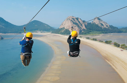 Gogunsan island tour-zipline activity.