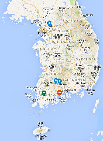 2days Jeolla Province tours-map