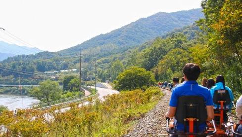 Ride rail bike along Seomjingang River, South Korea Outdoor activites Tour, Tagy Travel Korea