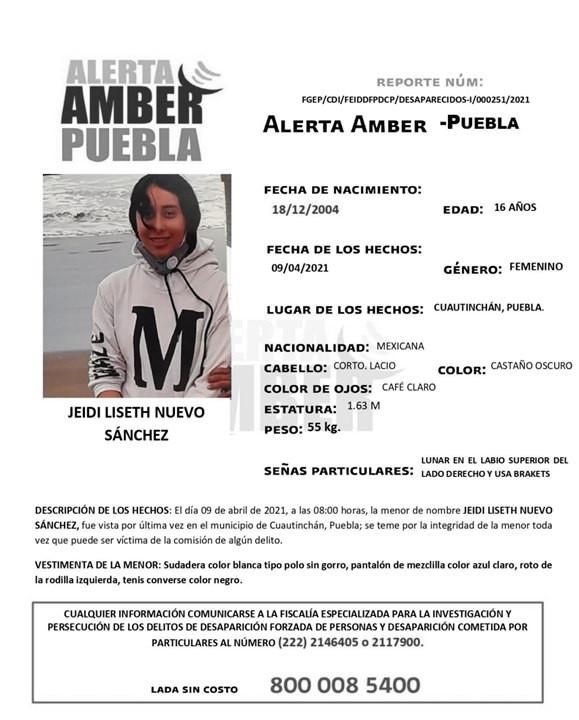Se activa Alerta Amber para localizar a menor de 16 años