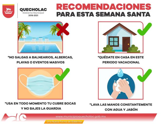 Emite Ayuntamiento de Quecholac recomendaciones para vacaciones.