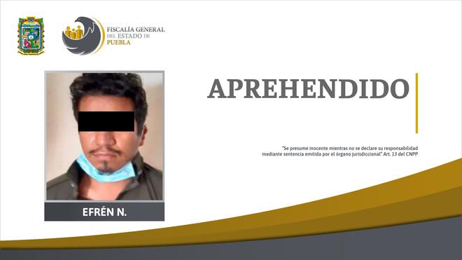 Fiscalía Puebla aprehendió en Chiapas a Efrén N. presuntamente relacionado con desaparición y femini
