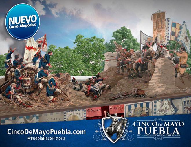 Puebla conmemorará la batalla del 5 de mayo con carros alegóricos hechos por artesanos mexicanos.