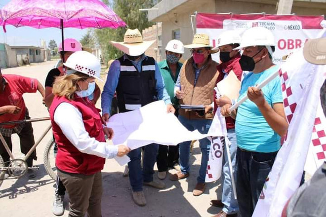 Con obra de adoquín para la Laguna se benéfica a 1, 400 vecinos en Tecamachalco con mejores calles.