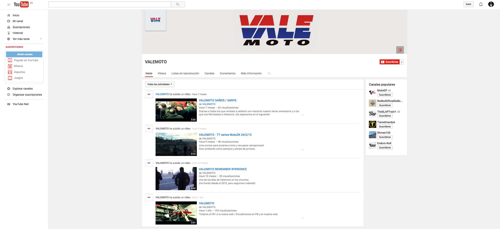 VALEMOTO - canal de youtube