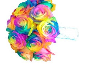 buchet de mireasa cu trandafiri curcubeu