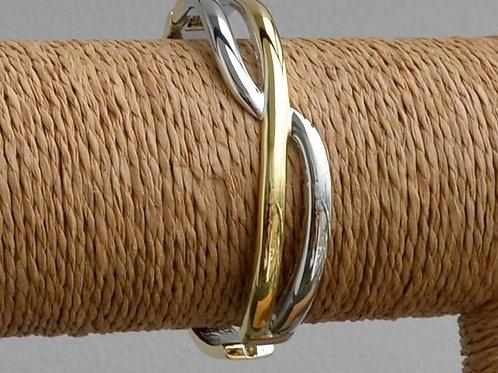 Two tone crossed bracelet