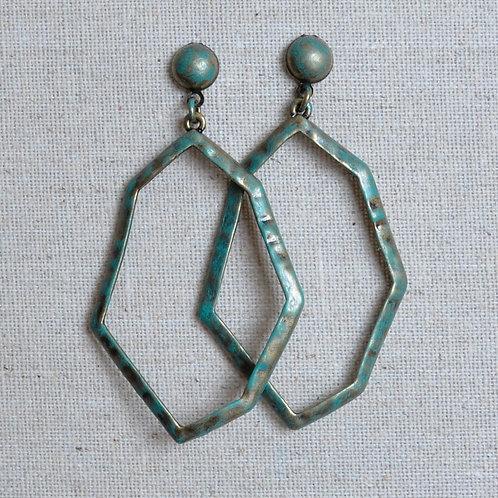 Large hammered irregular earrings