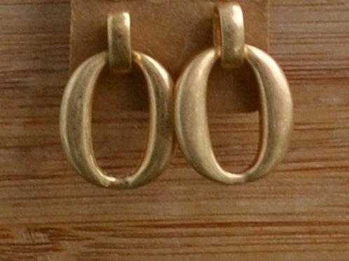 Tiny matte oval earrings