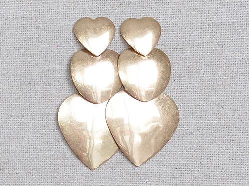 Triple heart earrings