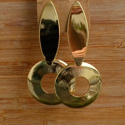 Hollow circle & tab earrings
