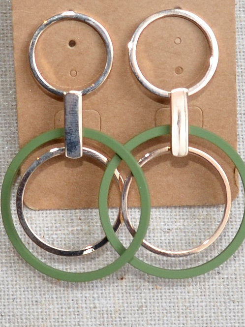 Double circle colored earrings
