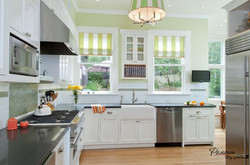 Wonderful-bright-kitchen-decoration-with-two-sliding-windows-and-fancy-hanging-lamp-design