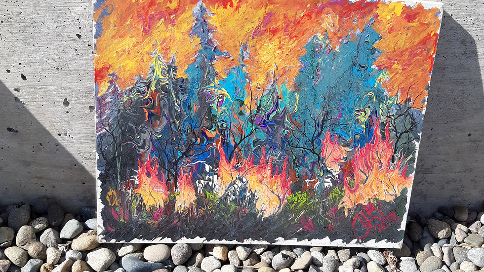 Forrest fire acrylic pour