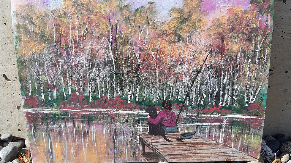 Fishing with pup painting