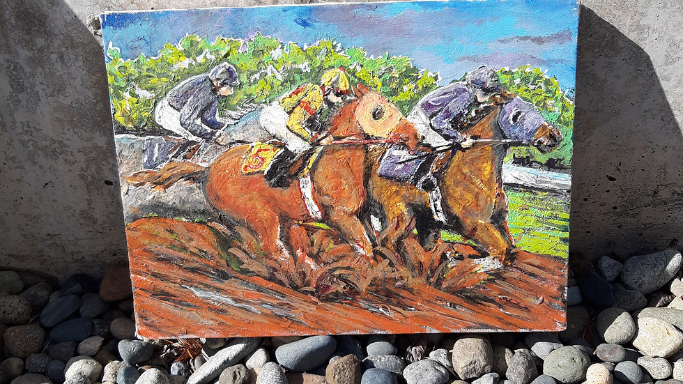 Racehorse painting- mixed media