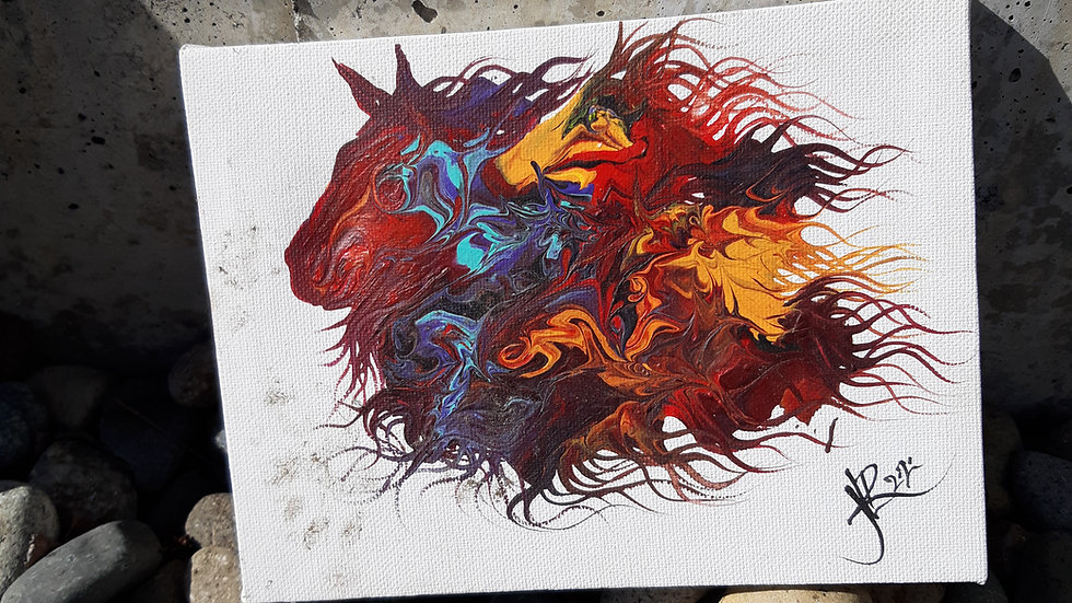 Horse head acrylic pour