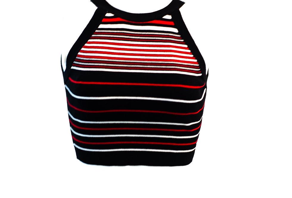 Red Stripes Halter Top