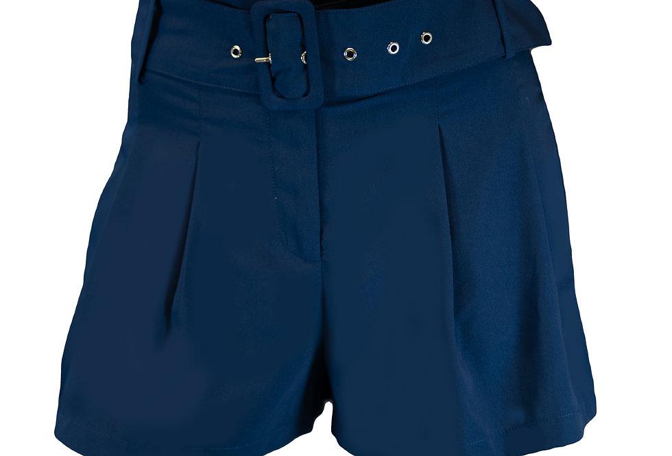 Navy High Waist Belted Shorts