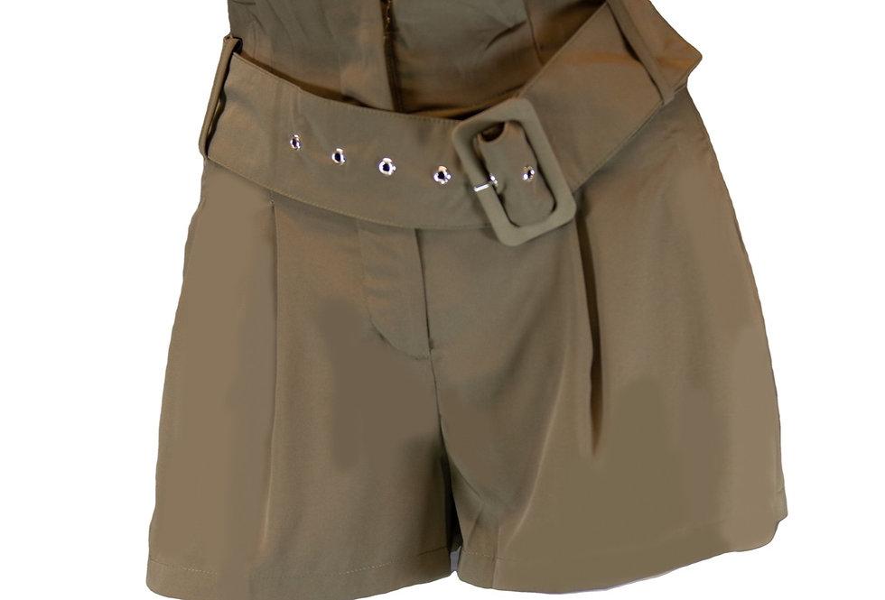 Olive High Waist Belted Shorts