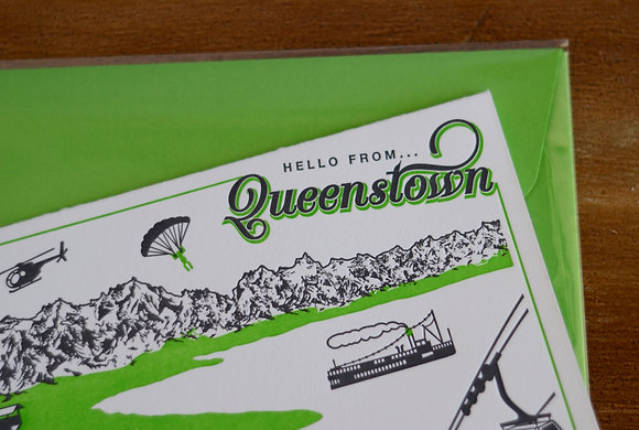"""Hello from... Queenstown"" Card"