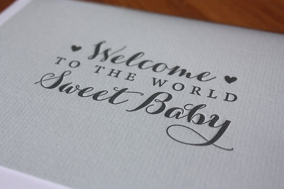 """Welcome To The World Sweet Baby"" Card - Blue"