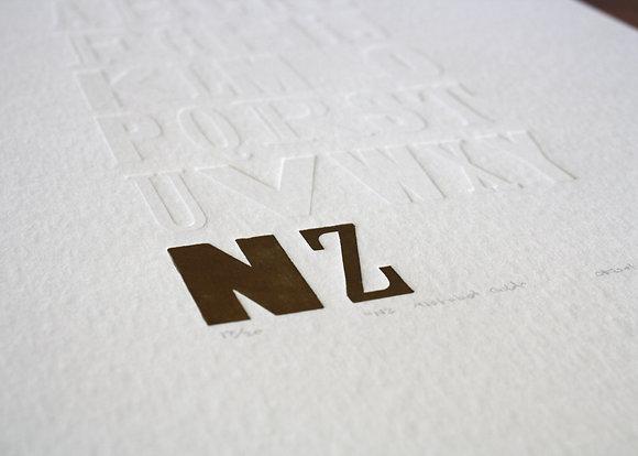 """""""NZ Alphabet"""" A3 Print (Gold)"""