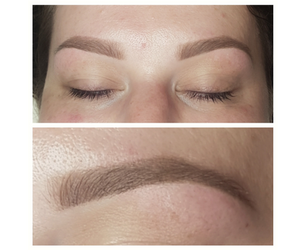 Healed Soft Powder Brow Tattoo with full colour