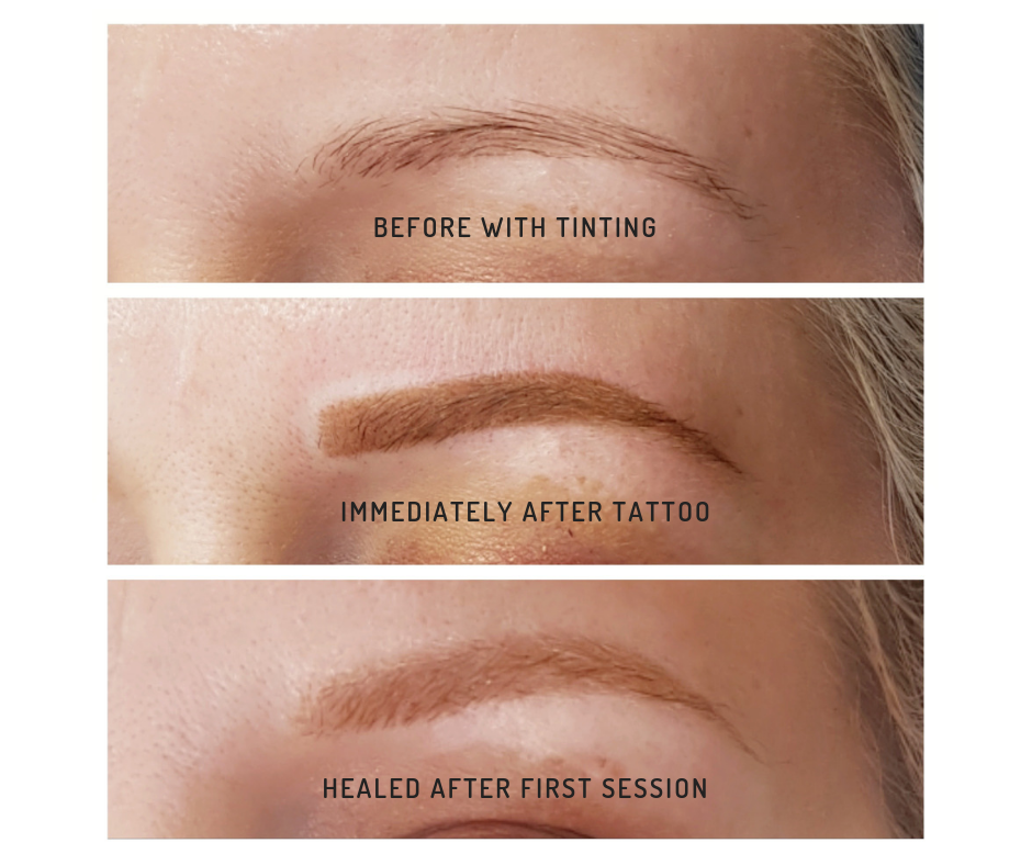 Healed Soft Powder Brow Tattoo after first session.