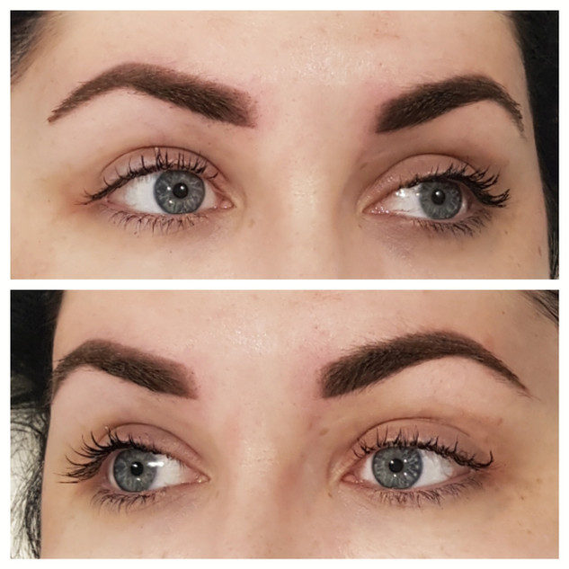 The Soft Powder Brow Tattoo immediately after tattooing.