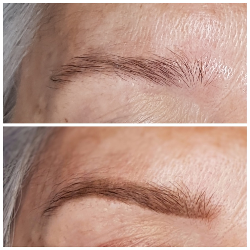 Before and After - The Healed Soft Powder Brow Tattoo
