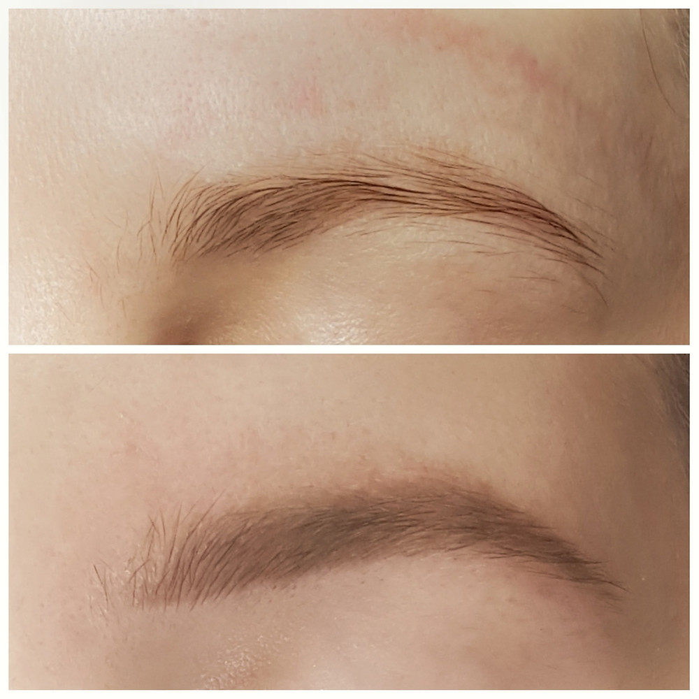 Before and the healed Soft Powder Brow Tattoo