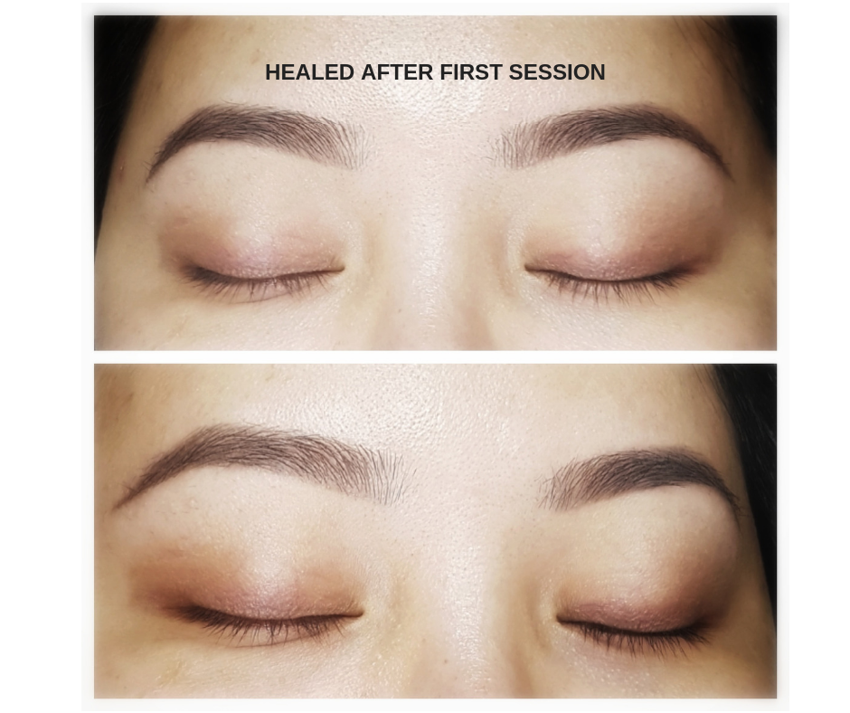 Healed Ombre brow tattoo.