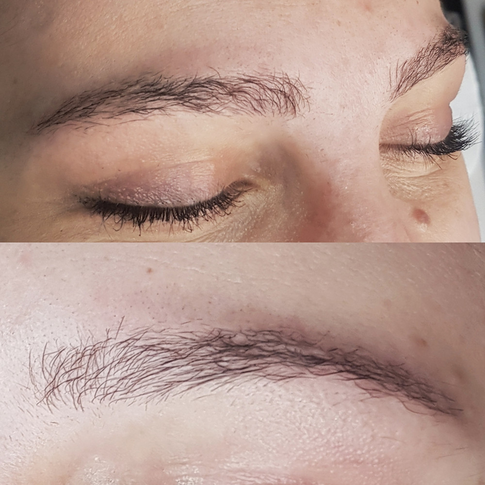 Frizzed brows after brow lamination at another salon. Brows were trimmed at same salon to lessen damaged appearance.