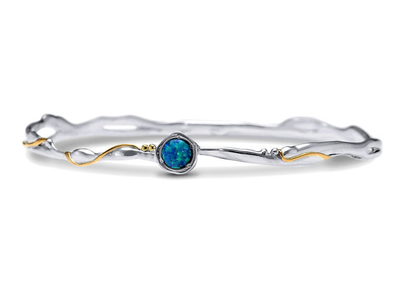 Bangle with 14ct Gold and Blue Opal