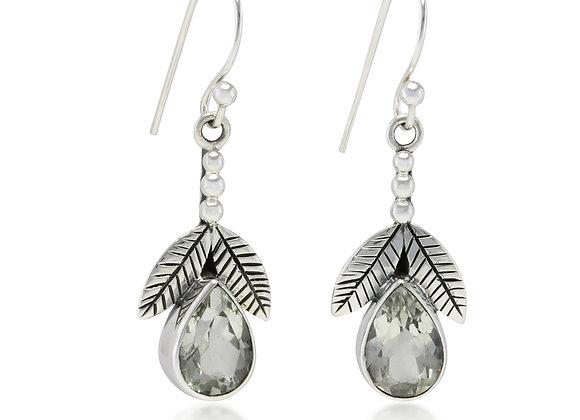 Faceted Green Amethyst Leaf Sterling Silver Earrings