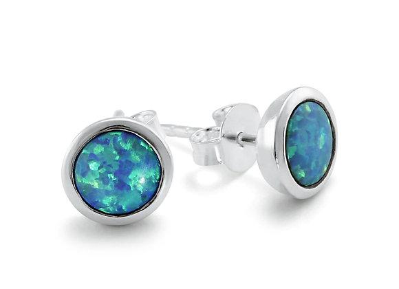 Blue Opalite Stud Earrings in Sterling Silver