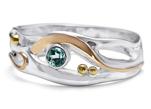 Dainty Blue Topaz and Gold Ring